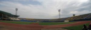 Stadion in der Woche vor dem Marathon