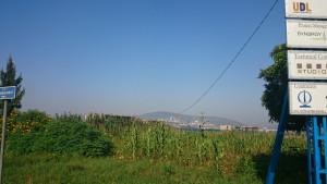 Blick über die Baustelle in Gacuriro zum Stadtzentrum